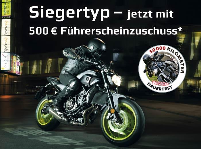 500,- € Führerscheinzuschuss A/A2* für MT-07 / MT-07 Moto Cage